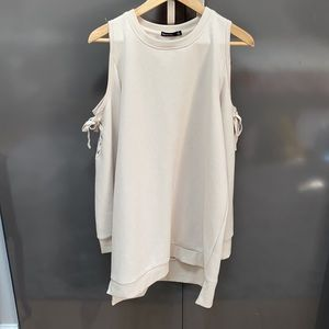 NWT Solutions Beige Cold-Shoulder Sweater